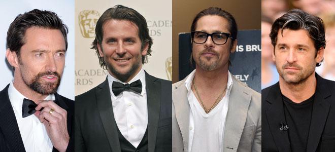 Imagen de Hugh Jackman, Bradley Cooper, Brad Pitt y Patrick Dempsey con barba