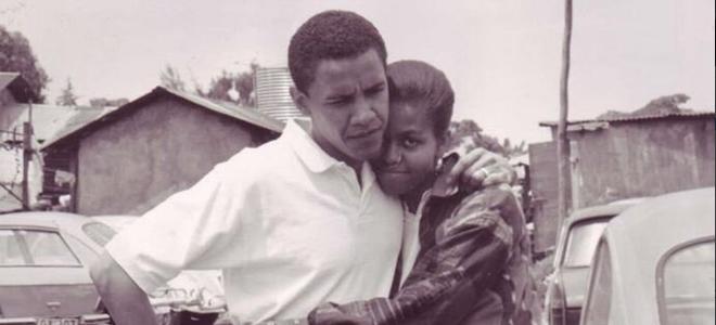Barack Obama y Michelle Obama en su epoca de novios
