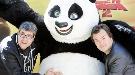 Jack Black y Florentino Fernández, haciendo el panda en el Zoo de Madrid