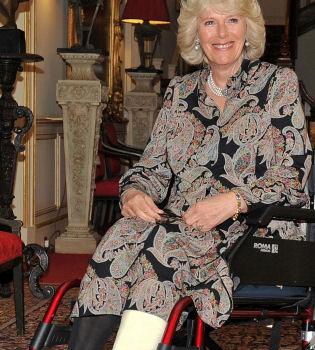 Camilla Parker Bowles aparece en silla de ruedas