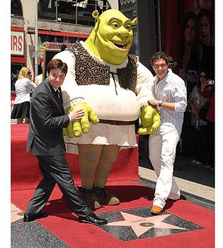 Antonio Banderas y Shrek en el Paseo de la Fama