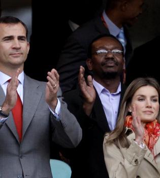 Los Príncipes de Asturias con la selección española en Sudáfrica