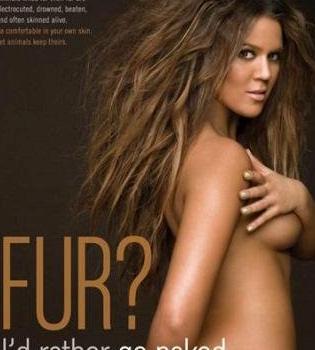 Desnudo integral de Khloe Kardashian para PETA