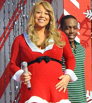 Mariah Carey, embarazadísima, inaugura la Navidad de Disney