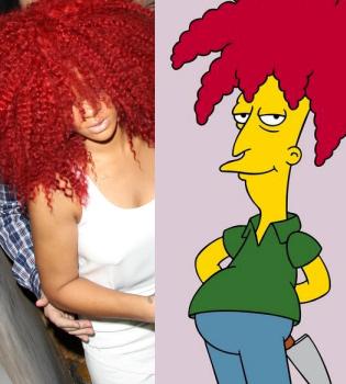 Rihanna copia el look a un personaje de 'Los Simpson'