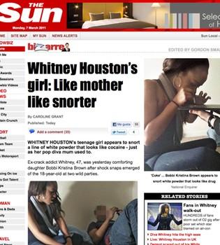 Fotografían a la hija de Whitney Houston consumiendo cocaína