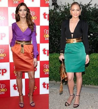 Sara Carbonero y Jennifer López, ¿quién luce mejor el Gucci?