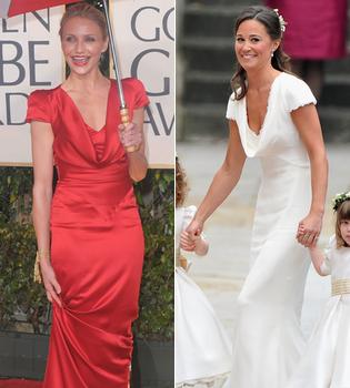 El vestido de Pippa Middleton en la Boda Real... ¡ya lo lució Cameron Diaz en los Globos de Oro 2010!