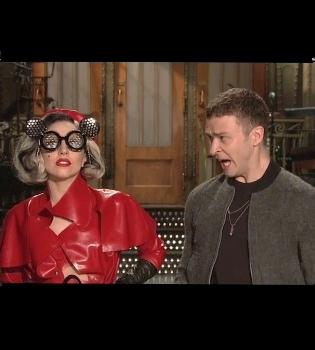 Lady Gaga aterra a Justin Timberlake antes de ir juntos a 'Saturday Night Live'