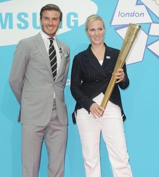 David Beckham y Zara Phillips promocionan los Juegos Olímpicos de 2012
