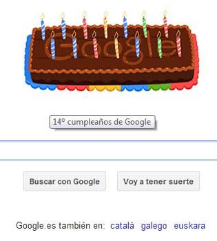 Google cumple 14 años: la tarta, en forma de doodle