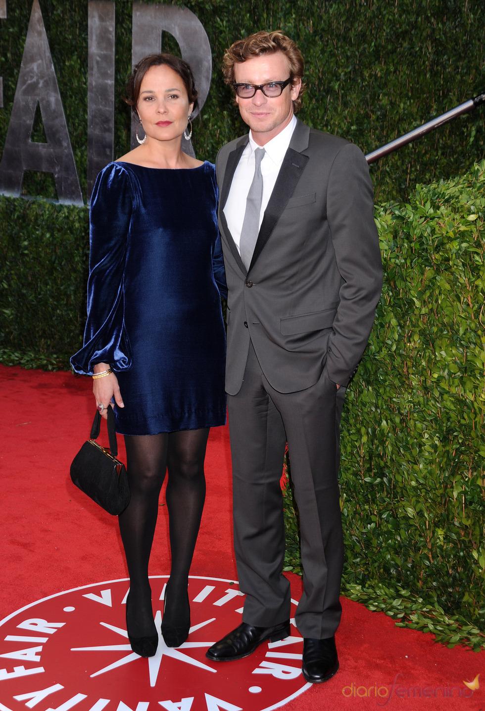 Simon Baker y Rebbeca Rigg en la fiesta Vanity Fair Oscar 2010