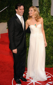 Jon Hamm y Jennifer Westfeldt en la fiesta Vanity Fair Oscar 2010