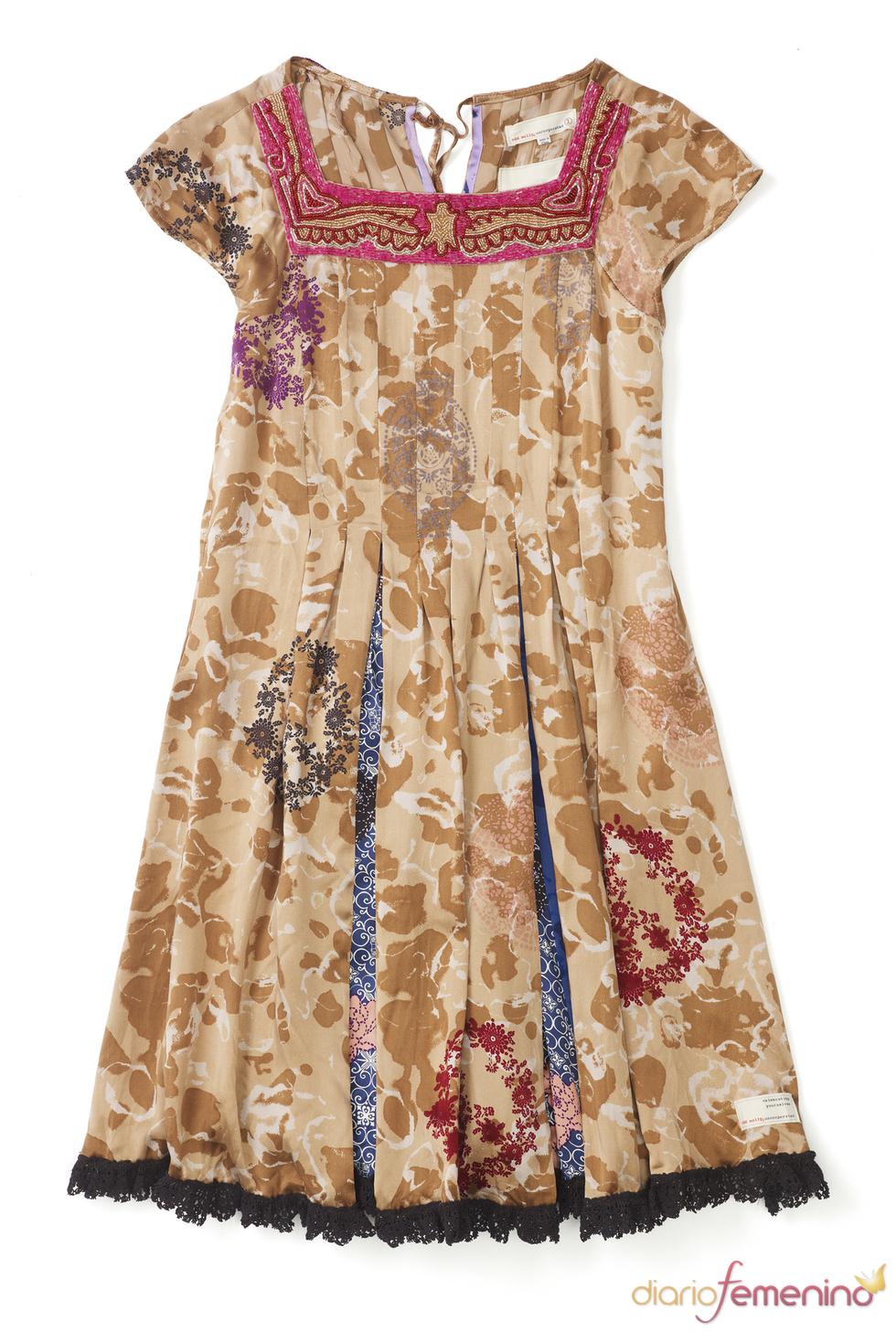 Odd Molly: Vestido marrón tableado
