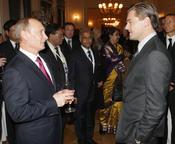 Leonardo Di Caprio Y Vladimir Putin durante su encuentro en Rusia