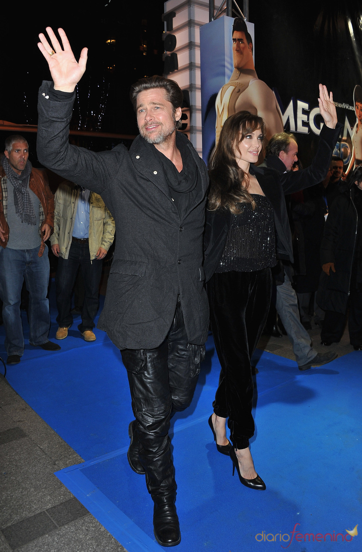 Brad Pitt y Angelina Jolie en el estreno de 'Megamind' en París