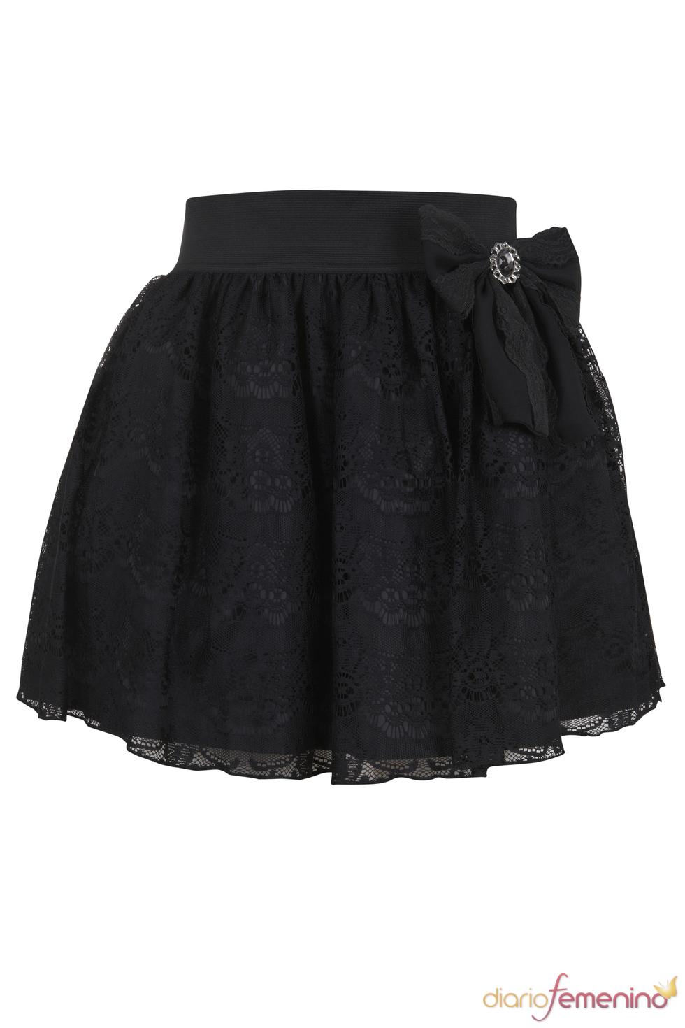 Falda con lazo lateral de Blanco