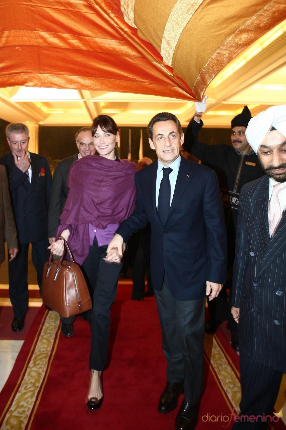 Carla Bruni y Nicolás Sarkozy en la India