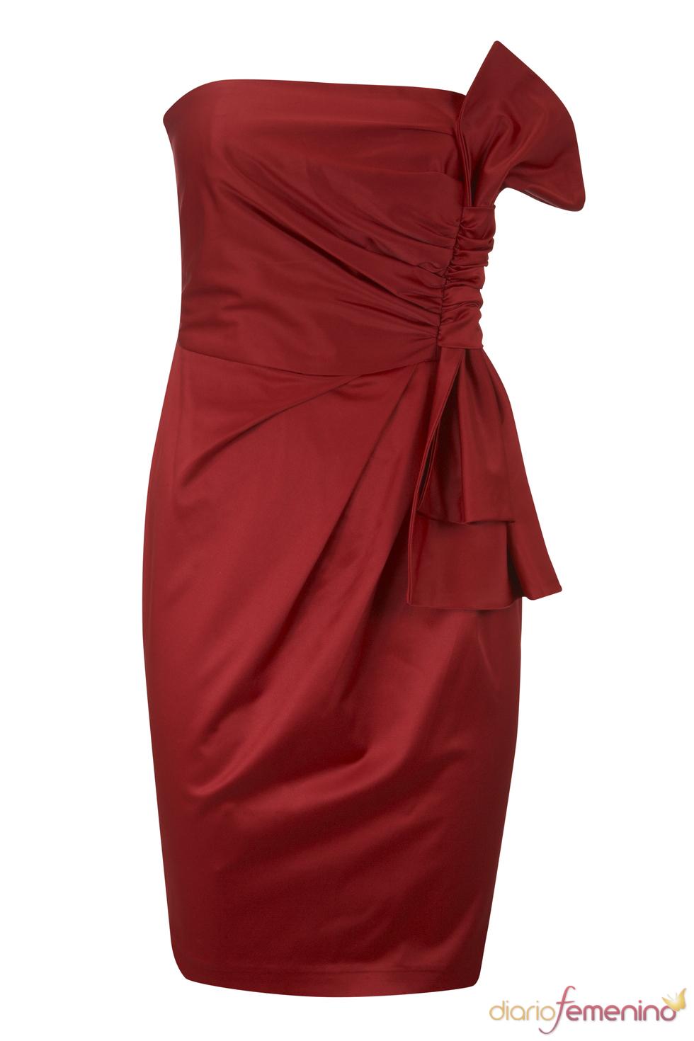 Vestido rojo con lazada de Blanco