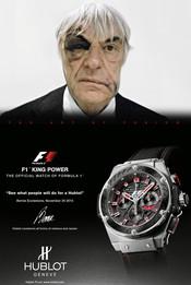 Bernie Ecclestone en el anuncio de una marca de relojes
