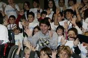 Leo Messi en un acto de Unicef