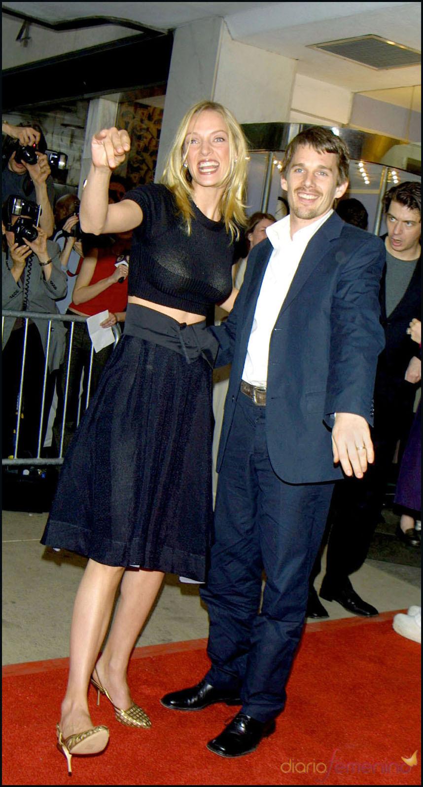 Uma Thurman y Ethan Hawke posan en una premier GtresUma Thurman Ethan Hawke Wedding
