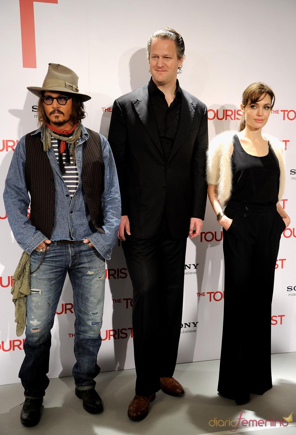Johnny Depp, Angelina Jolie y Florian Henckel Von Donnersmarck llegan a Madrid