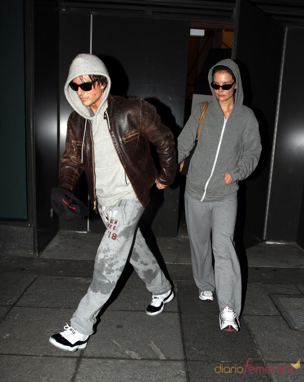 Katie Holmes y Tom Cruise salen juntos del gimnasio