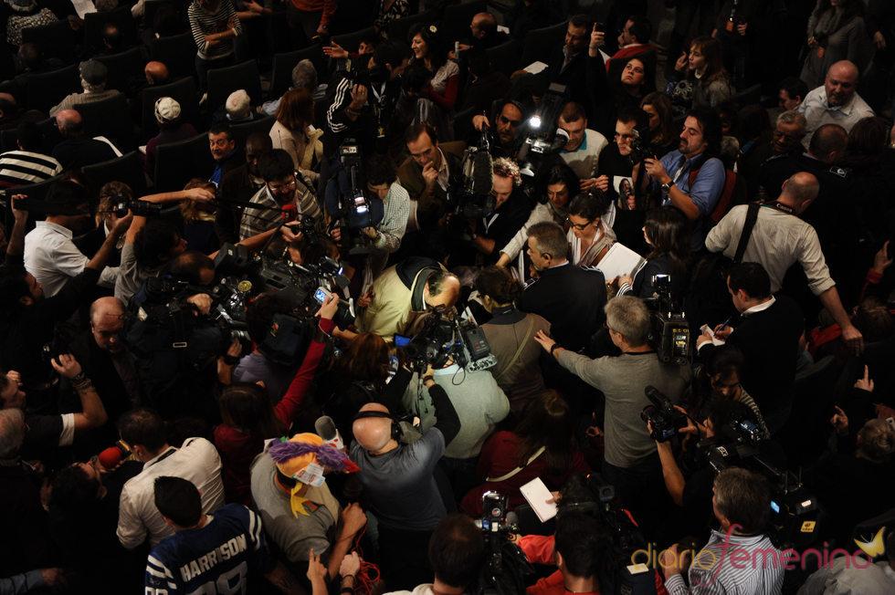 Multitud de gente durante el Sorteo de la Lotería de Navidad