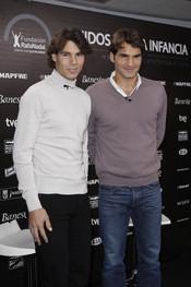 Rafa Nadal y Roger Federer presentan el partido solidario de tenis en la Caja Mágica