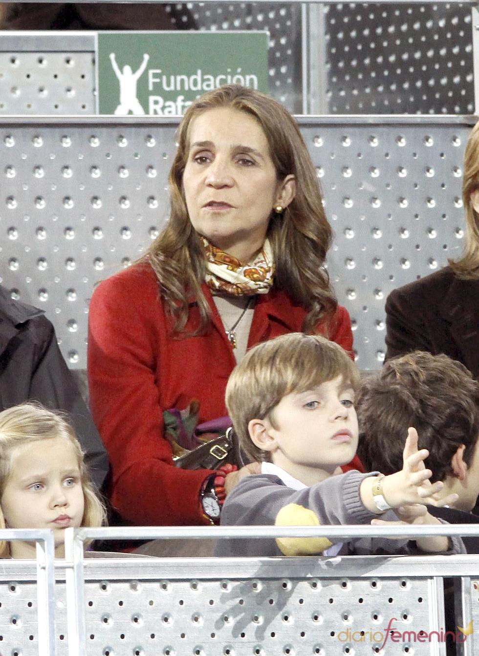 La Infanta Elena durante el partido de tenis de la Fundación Rafa Nadal