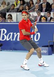 Roger Federer en el partido benéfico por la Fundación Rafa Nadal