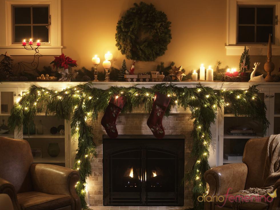 Leño en el hogar para Navidad