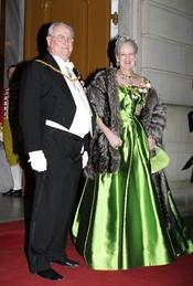 Margarita de Dinamarca y su esposo en la cena de gala de Año Nuevo