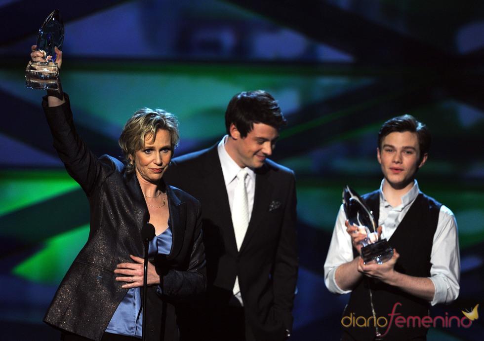 Jane Lynch, Cory Monteith y Chris Colfer  en el People's Choice Awards 2011