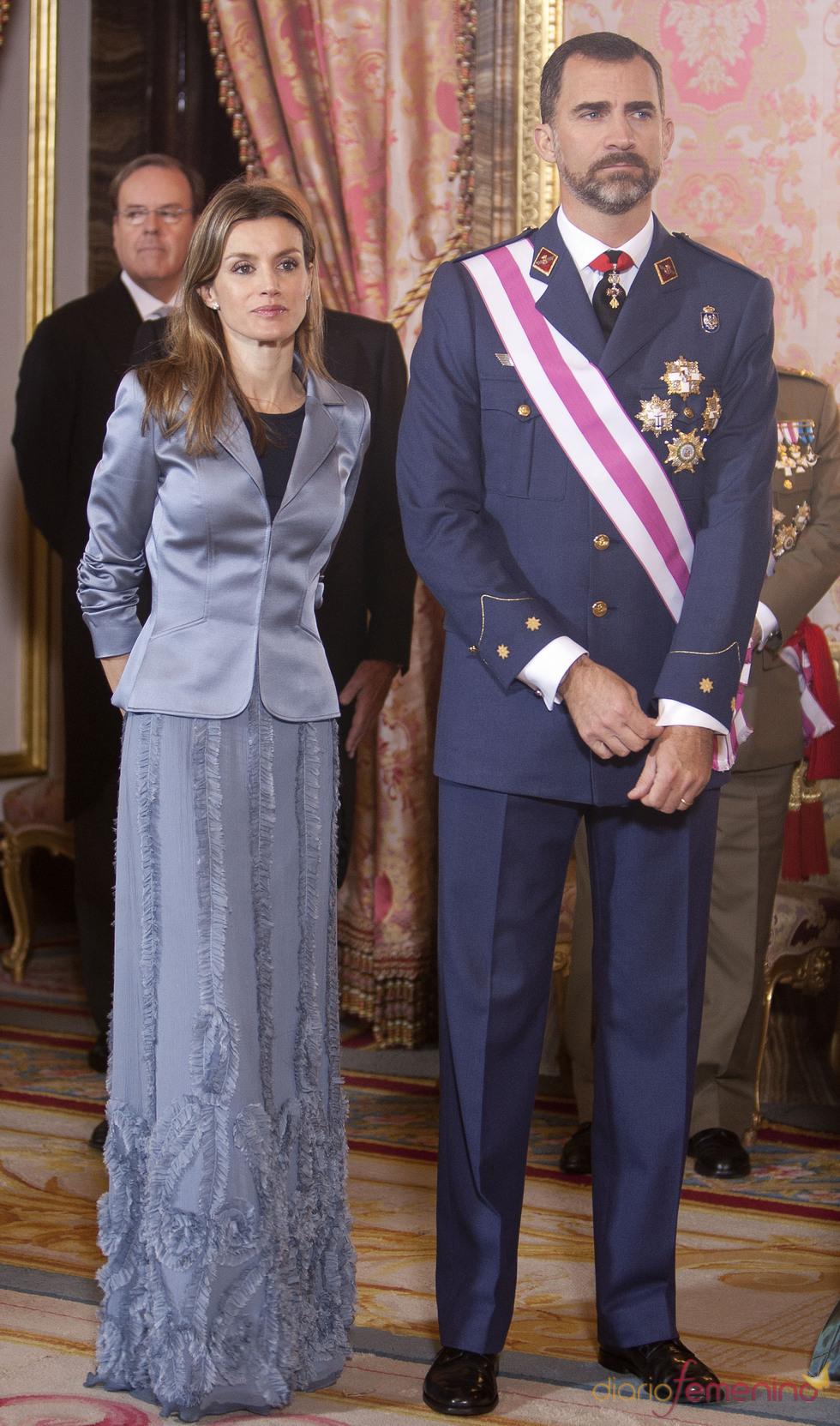 Los Príncipes de Asturias en la recepción del Palacio Real durante la Pascua Militar