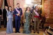 Los Reyes y los Príncipes de Asturias en la recepción del Palacio Real durante la Pascua Militar