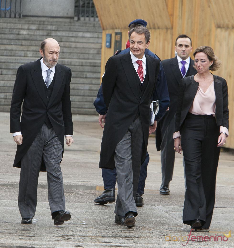 Carme Chacón, José Luis Rodríguez Zapatero y Alfredo Pérez Rubalcaba en la Pascua Militar