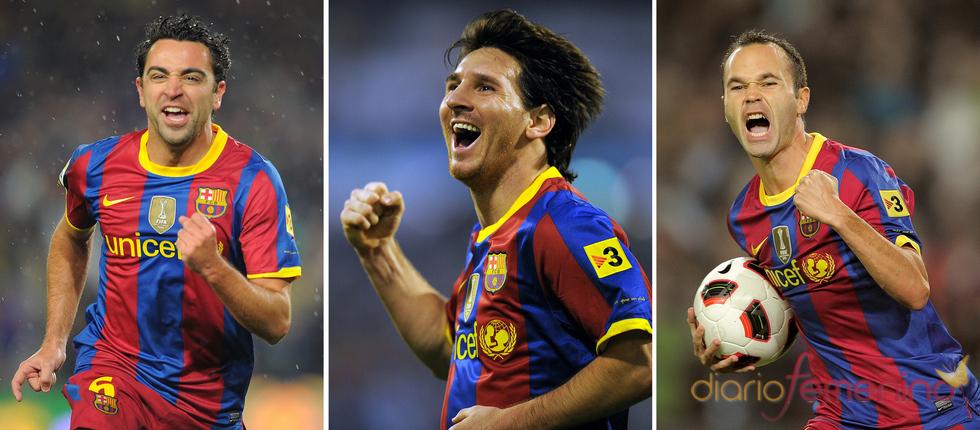 Xavi Hernández, Messi y Andrés Iniestas se disputan el Balón de Oro 2010