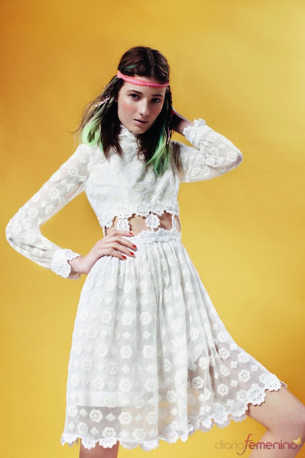 Vestido blanco de encaje de Topshop p/v 2011