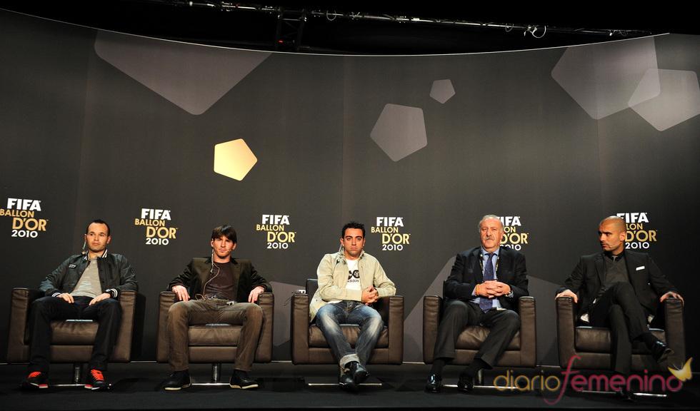 Iniesta, Messi, Xavi, Guardiola y Vicente del Bosque