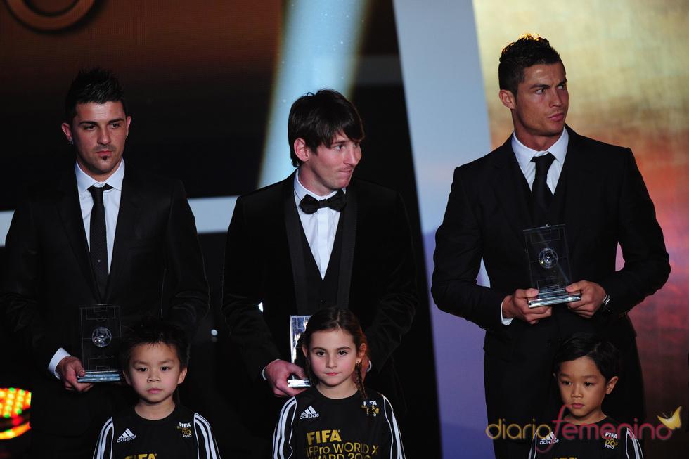 David Villa, Messi y Cristiano Ronaldo en la gala FIFA Balón de Oro 2010