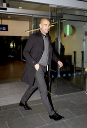 Pep Guardiola a su llegada a Barcelona