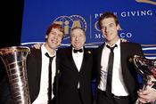 Jean Todt, Sebastien Loeb y Sebastian Vettel, en la gala de la FIA