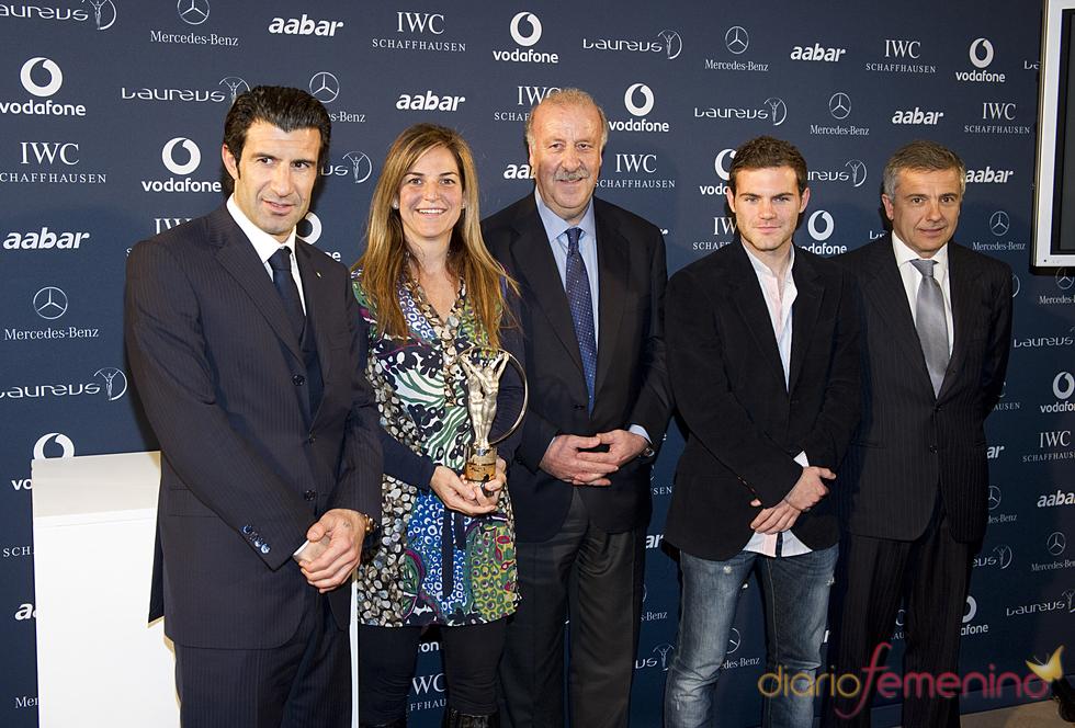 Luis Figo, Arancha Sánchez Vicario, Vicente del Bosque y Juan Mata en la presentación de los Premios Laureus