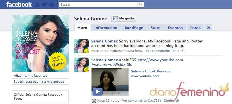 El Facebook y el Twitter de Selena Gómez hackeado
