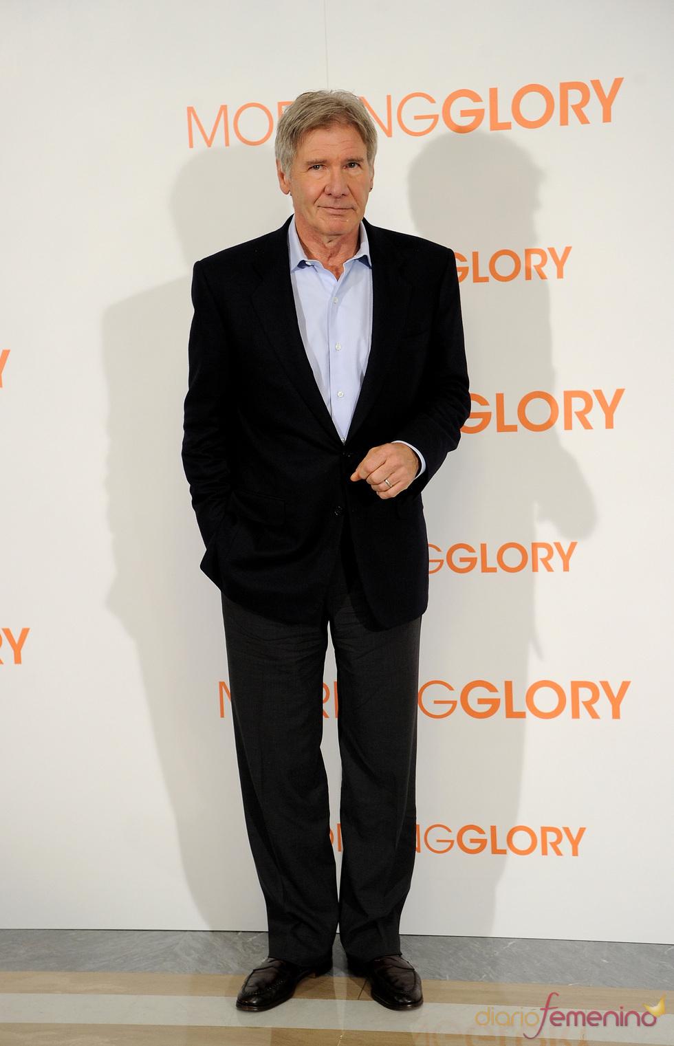 Harrison Ford en la presentación de 'Morning Glory' en Madrid