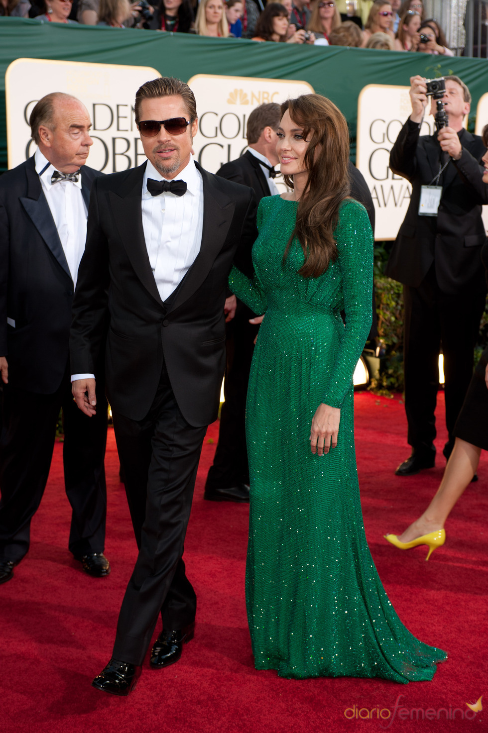 Angelina Jolie y Brad Pitt en la alfombra roja de los Globos de Oro 2011
