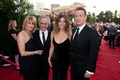 Kate Capshaw, Steven Spielberg, Rita Wilson y Tom Hanks en los Globos de Oro 2011