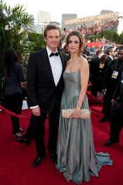 Colin Firth y Livia Giuggioli en los Globos de Oro 2011